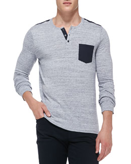 Vince Heathered Knit Pocket Henley