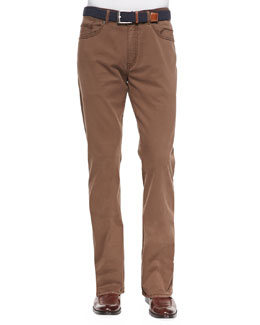 Peter Millar Satin-Stretch Five-Pocket Pants, Brown