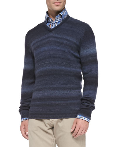 Isaia Cashmere Ombre-Stripe Sweater, Navy