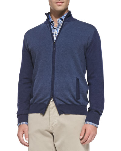 Isaia Cashmere Pin-Dot Cardigan, Navy