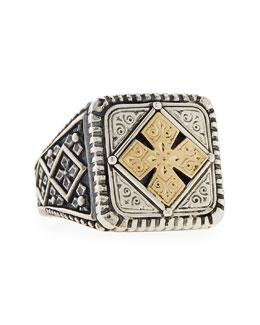 KONSTANTINO Men's Maltese Cross Square Ring, Size 10