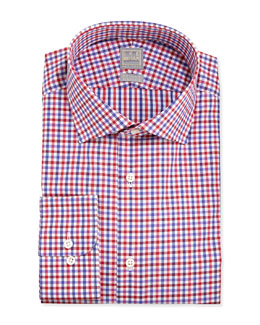 Ike Behar Check Dress Shirt, Red Multi
