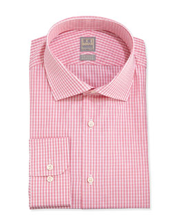Ike Behar Woven Check Dress Shirt, Coral