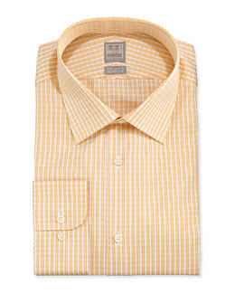 Ike Behar Check Twill Dress Shirt, Yellow