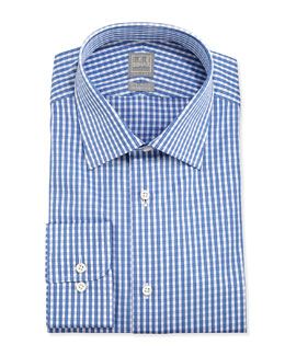 Ike Behar Gingham Dress Shirt, Blue/White