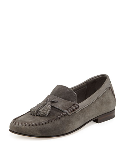 Jimmy Choo Balmoral Men's Suede Moccasin Driver, Gray