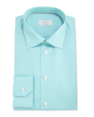 Eton Slim Fit Micro-Houndstooth Twill Dress Shirt, Green