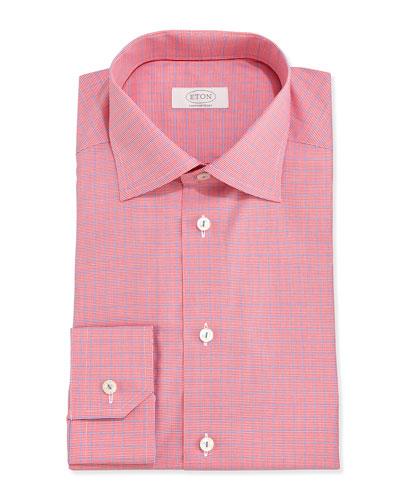 Eton Micro-Houndstooth Twill Dress Shirt, Red/Blue