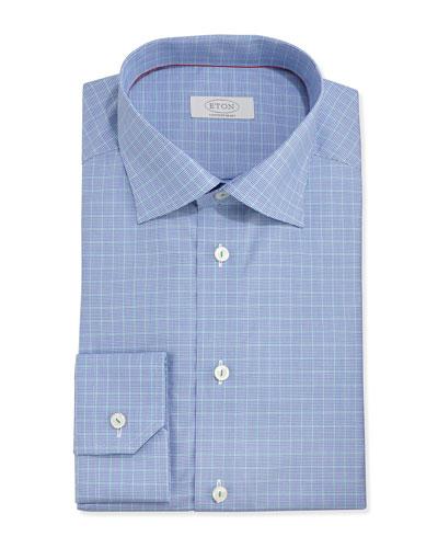 Eton Micro-Houndstooth Slim Fit Twill Dress Shirt, Blue