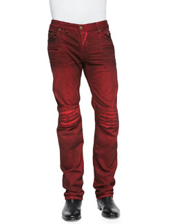 Robin's Jean 3D Denim Moto Pants, Red