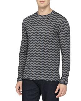 Armani Collezioni Long-Sleeve Jersey Shirt, Gray/Dark Gray