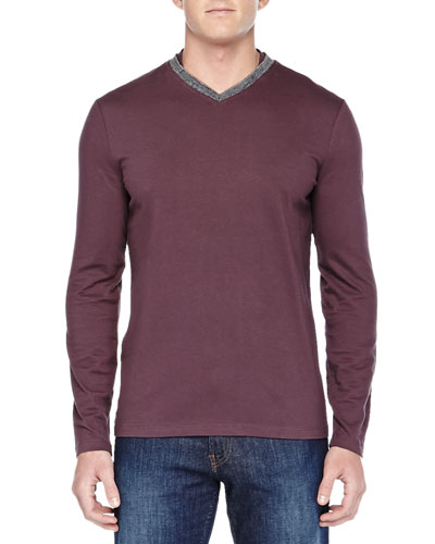 Armani Collezioni Long-Sleeve Shirt W/ Contrast V-Neck, Wine/Gray