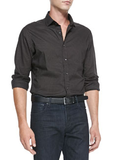 Ralph Lauren Black Label Dot-Print Poplin Shirt, Brown