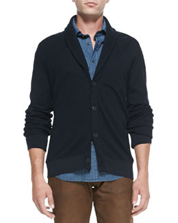 Ralph Lauren Black Label Waffle-Knit Shawl Cardigan, Navy