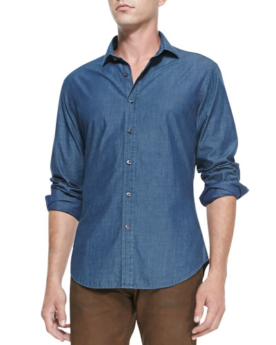 Ralph Lauren Black Label Woven Chambray Shirt, Navy