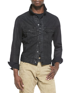Ralph Lauren Black Label Mason Trucker Jean Jacket, Black