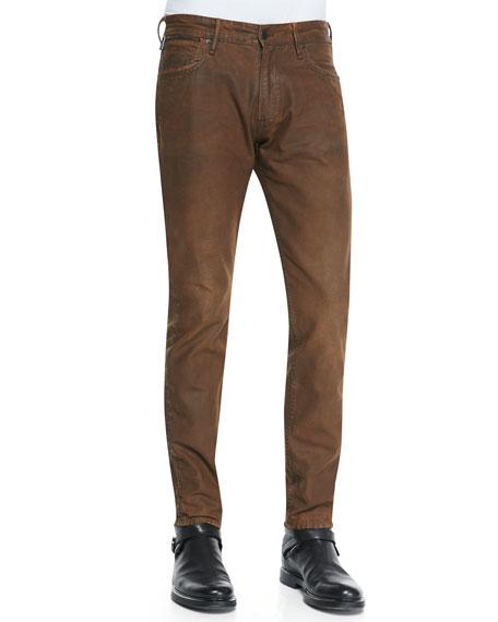 Canvas Slim-Fit Jeans, Brown