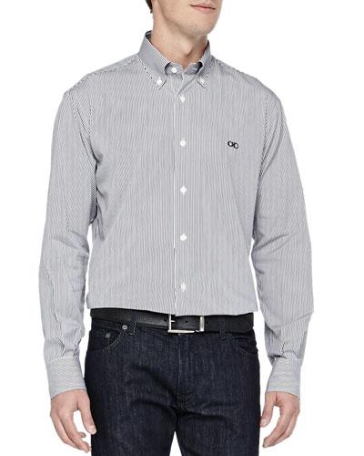 Salvatore Ferragamo Bengal-Stripe Button-Down Shirt, Navy/White