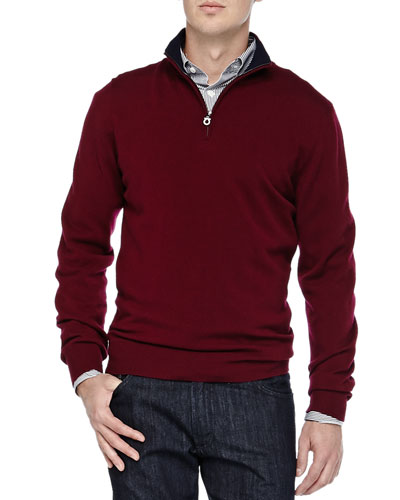 Salvatore Ferragamo Wool Quarter-Zip Sweater, Burgundy