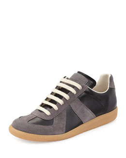 Maison Martin Margiela Replay Leather & Suede Low-Top Sneaker, Black/Graphite