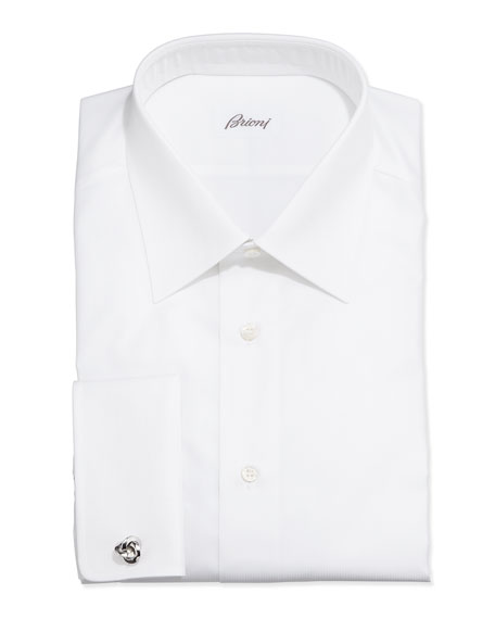Brioni French-Cuff Shadow Stripe Dress Shirt, White