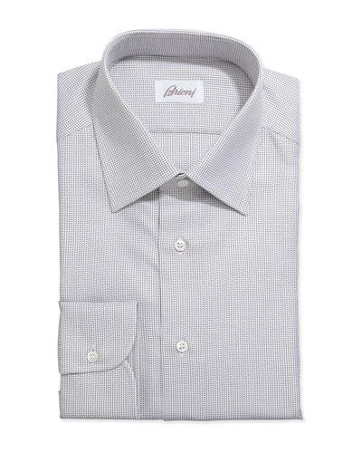 Brioni Lattice-Weave Grenadine Dress Shirt, Brown