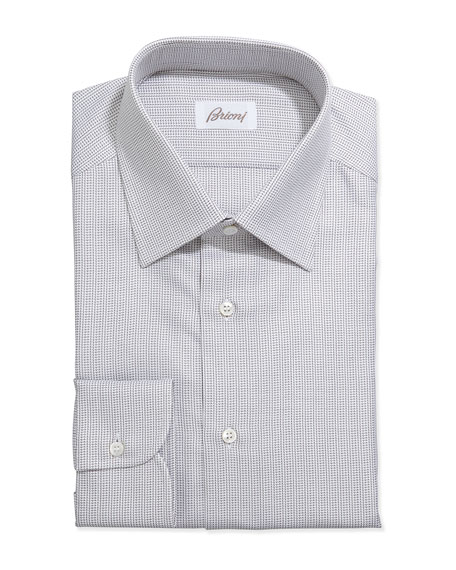 Brioni Lattice-Weave Grenadine Dress Shirt, Brown