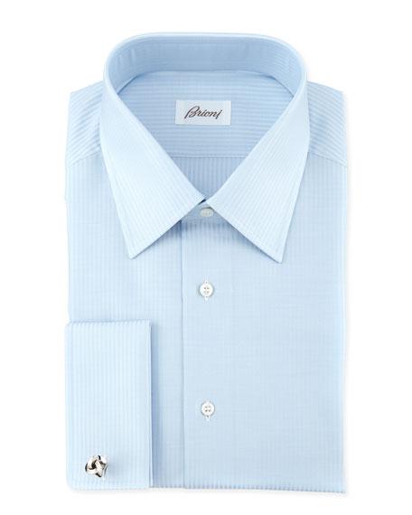 Brioni Tonal-Stripe Dress Shirt, Blue