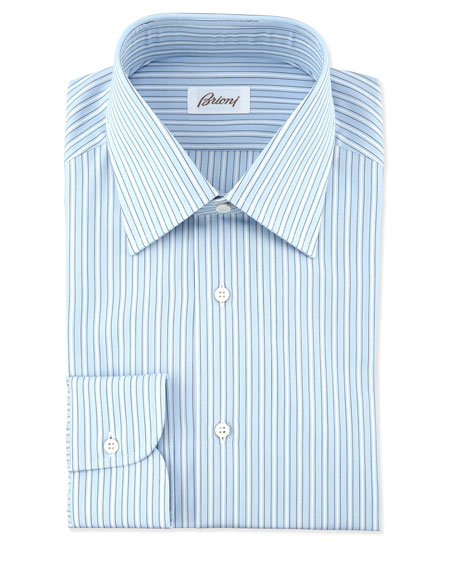 Brioni Textured Ground-Stripe Dress Shirt, Blue