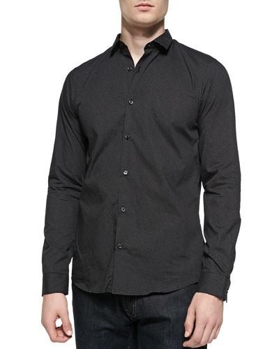 Michael Kors  Slim Fit Micro-Pindot Button-Front Shirt