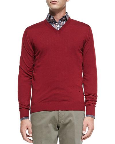 Isaia V-Neck Merino Sweater, Wine
