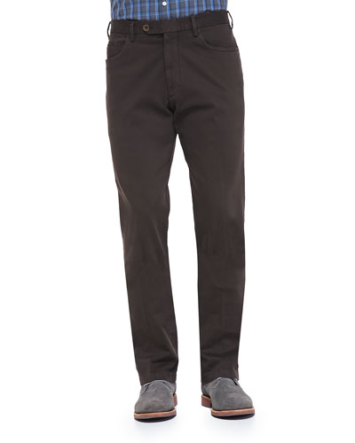 Isaia Five-Pocket Cotton Trousers, Brown