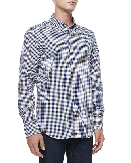 Neiman marcus button down tattersall shirt white blue brown for White shirt brown buttons