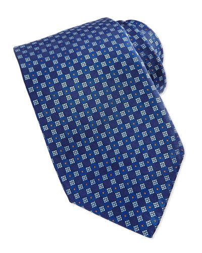 Robert Talbott Checkerboard Neat Tie, Blue