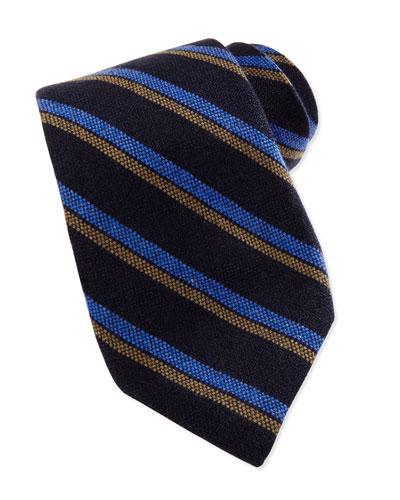 Robert Talbott Cashmere Stripe Tie, Black