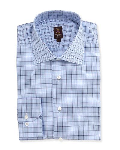 Robert Talbott Glen Plaid Twill Trim Fit Dress Shirt, Blue/Navy