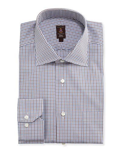 Robert Talbott Tattersall-Check Trim Fit Dress Shirt, Brown/Blue