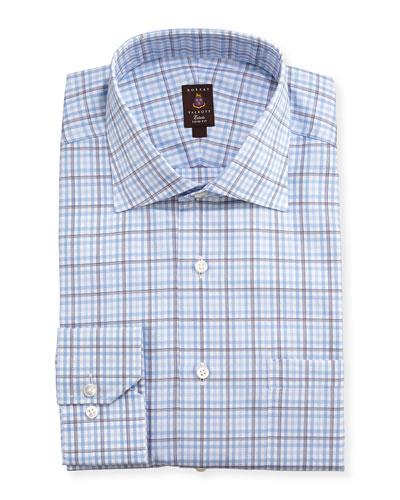 Robert Talbott Shadow Windowpane Trim Fit Dress Shirt, Blue