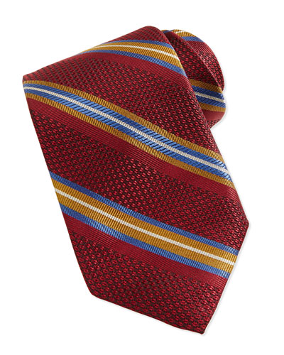 Robert Talbott Grenadine Stripe Tie, Ruby