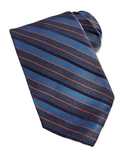 Robert Talbott Repp Stripe Silk Tie, Blue