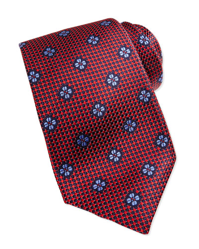 Robert Talbott Micro-Neat Floating Foulard Tie, Red