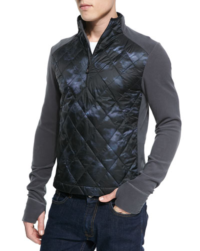 Diamond Quilted-Front Fleece Pullover, Charcoal