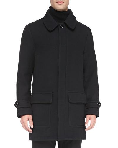 Ovadia & Sons Overcoat with Detachable Hood, Black