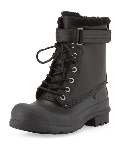 Hunter Boot Rubber and Shearling Fur Lace-Up Boot,
