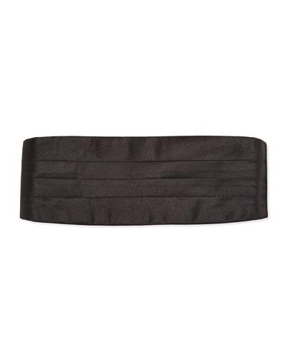Neiman Marcus Solid Silk Satin Cummerbund, Black