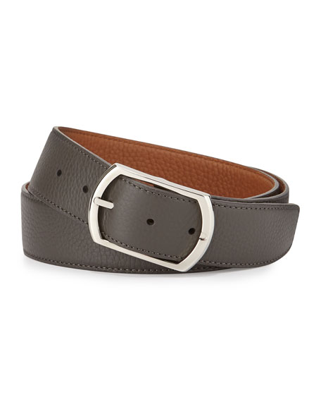 Simonnot Godard Reversible Leather Belt, Gray to Light