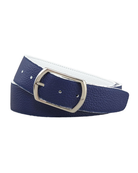 Reversible Pebbled Leather Belt, White/Navy
