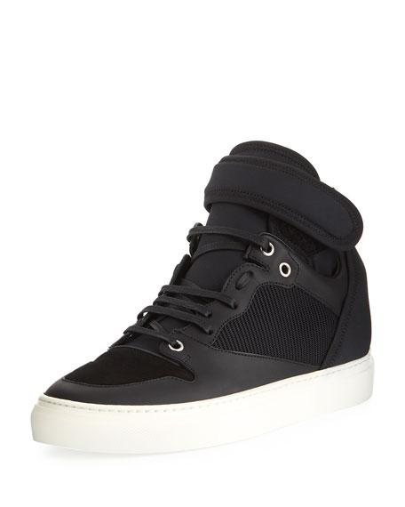 Balenciaga Neoprene and Leather High-Top Sneaker, Black