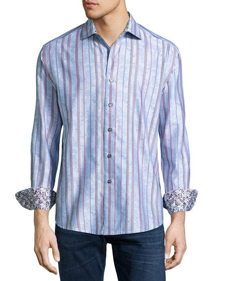 Robert Graham Moksa Paisley-Striped Sport Shirt, Light Blue