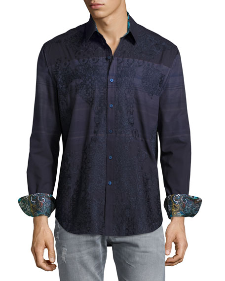 Robert Graham Sarees Embroidered Sport Shirt, Navy